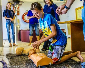 Attendees practiced CPR.