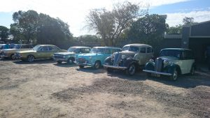 Golden oldies lined up in front of the Bush Pub.