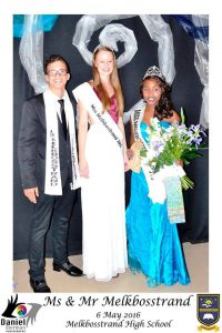 William Hendricks and Meagan Pieterse, with last year's Miss Melkbosstrand Natasha Henning (center).
