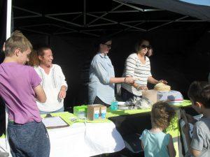 Michelle Worsfold (left) manning Peanut's stall.