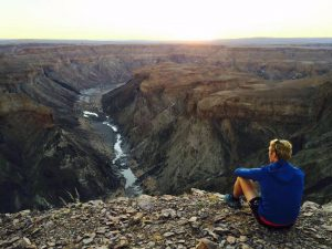AJ looks down on the Fish River Canyon.