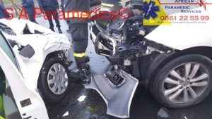 The two vehicles that collided on the corner of the R27 and M19. Photos: South African Paramedic Services