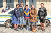 Constable Debbie Alard (centre) with JP Windell to her left and Morné van der Merwe far right. Photos: Marnette Meyer