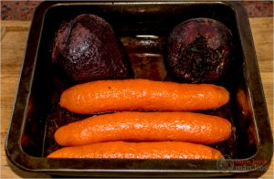 Bak wortels en beet in die oond.