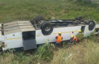 The bus rolled down an embankment. Photo: ER24