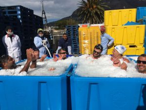 The ice baths at I&J. Roxy is second from right.