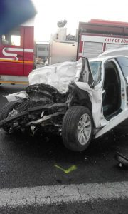 The car in which the men were travelling. Photo: ER24