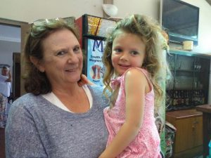 Market organiser Estelle Hinkley with her granddaughter Ava de Lange.