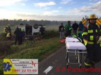 A taxi overturned outside Melkbosstrand this morning. Photos: South African Paramedics