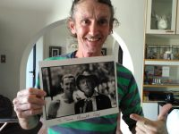 Terry holding a photo of him and Quentin Crisp. Photos: Melkbos.net