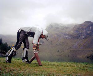 Thomas Thwaites doing his GoatMan thing: Photo: Tim Bowditch
