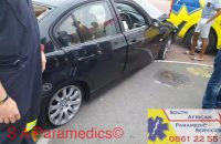 The BMW collided against a pole. Photos: SA Paramedics