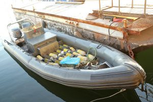 A rubber dinghy and diving equipment were confiscated.