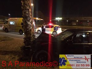 A car collided against a tree near the Stables in Montague Road. Photo: SA Paramedics