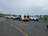 A cash-in-transit van was involved in a shoot-out this morning. Photos: ER24