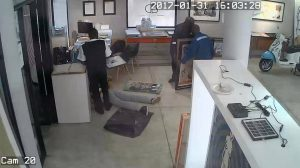Footage captured during the robbery. Photo and video: Daville Baillie Gallery