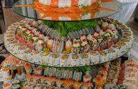 The sushi wedding cake. Photo: Denise Crawford