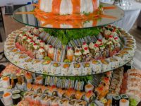 The sushi wedding cake. Photo: Denise Crawford